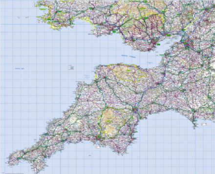 7. Ordnance Survey Road Map South West England & South Wales - Wall Map
